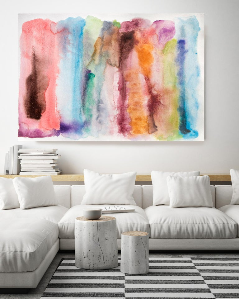 Pink Blue Watercolor Painting Hand Textured Giclee on Canvas, An Autumn Sunset - Beige Still-Life Painting by Irena Orlov