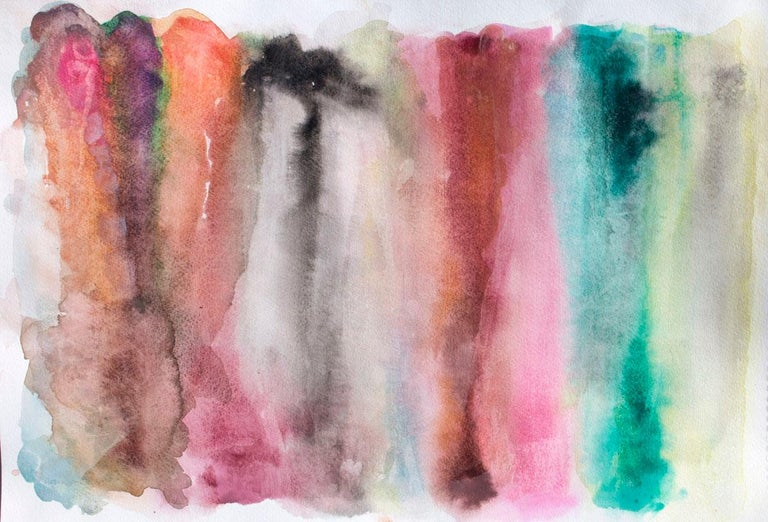 """Irena Orlov Still-Life Painting - Green Pink Watercolor Abstract Painting Hand Textured Giclee on Canvas, 45x60"""""""