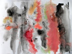"""Red Black Watercolor Abstract Painting Hand Textured Giclee on Canvas, 45x60"""""""