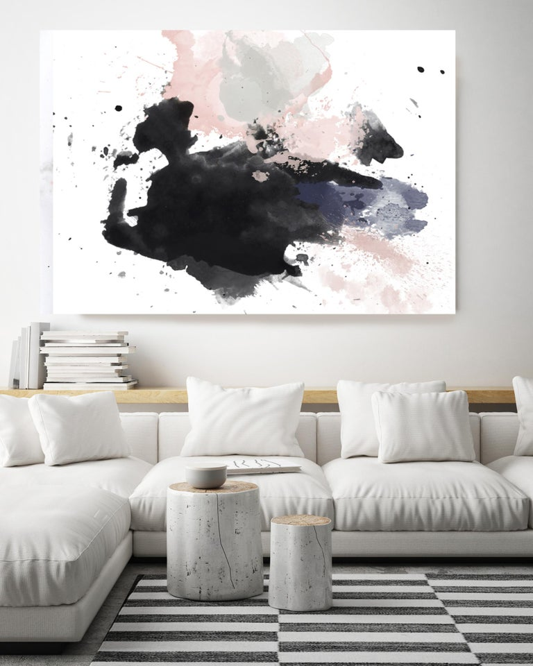 Pink Black Watercolor Abstract Painting Hand Textured Giclee on Canvas, 40 x 60