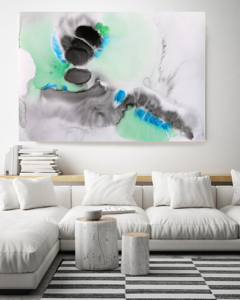 Turquoise Black Watercolor Abstract Hand Textured Giclee on Canvas, 40 x 60