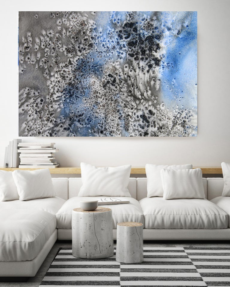 Blue Black Coastal Watercolor Abstract Hand Textured Giclee on Canvas, 40 x 60