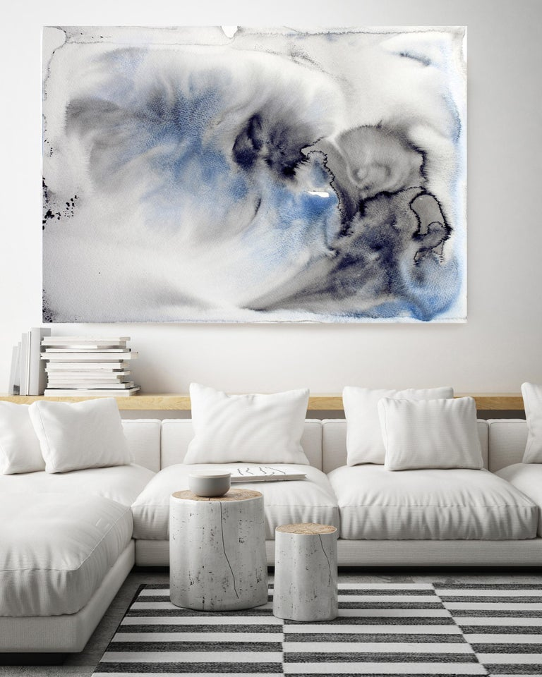 Blue Coastal Watercolor Abstract 53, Hand Textured Giclee on Canvas, 40 x 60
