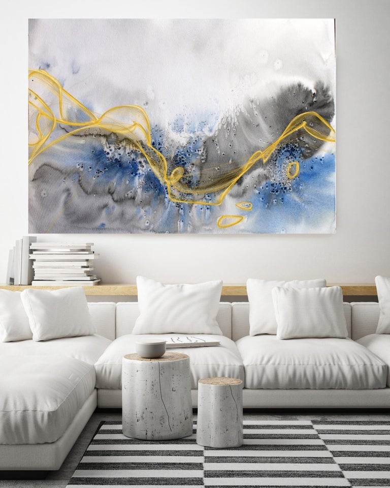 Gold Blue Coastal Watercolor Painting Hand Textured Giclee on Canvas, 40 x 60