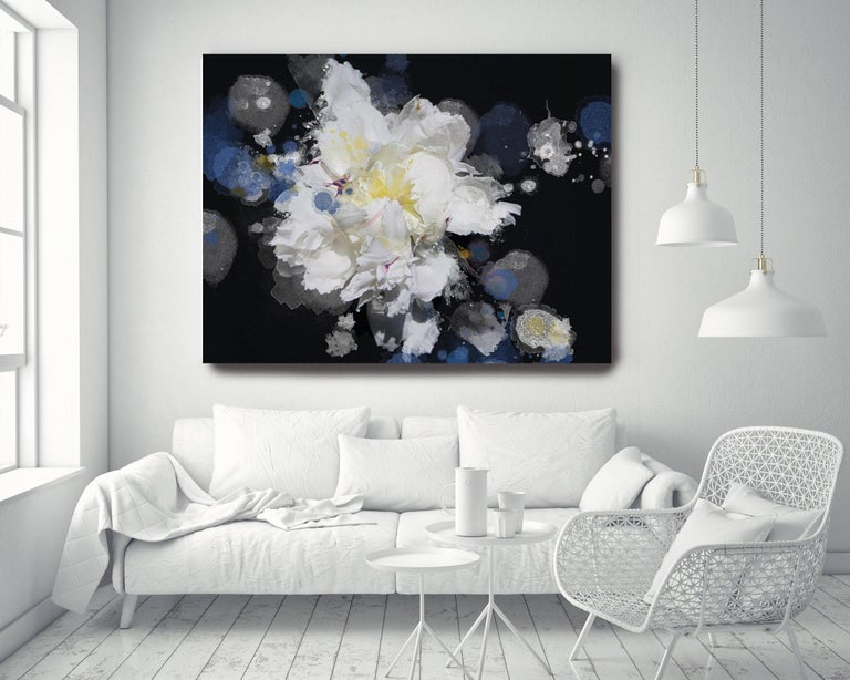 Blue Black White Floral Painting Hand Embellished Giclee on Canvas Breathless 3   State-of-the-art HAND EMBELLISHED ∽ MUSEUM QUALITY ∽ DISPLAY READY Giclee Reproduction Each limited edition Giclee is hand embellished by the artist, making it one of