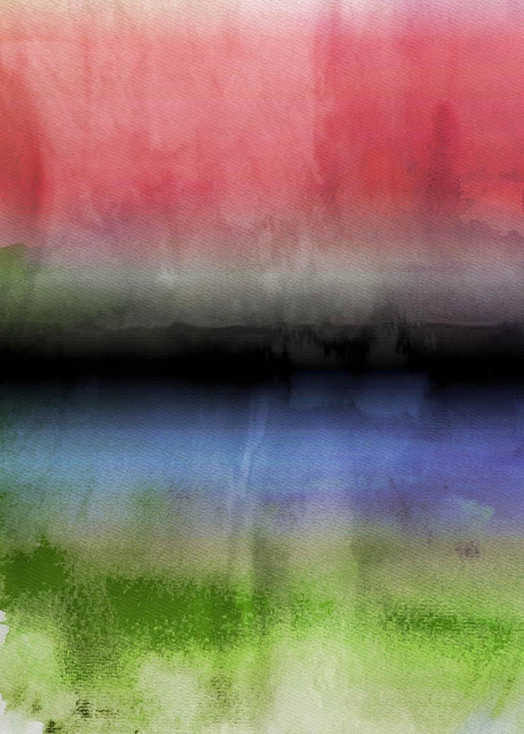 """Red Blue Green Watercolor Painting Hand Textured Giclee on Canvas, 40 W x 60 H"""""""