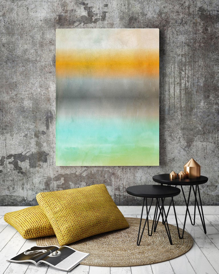Green Yellow Ombre Painting Hand Textured Giclee on Canvas, 40 W x 60 H