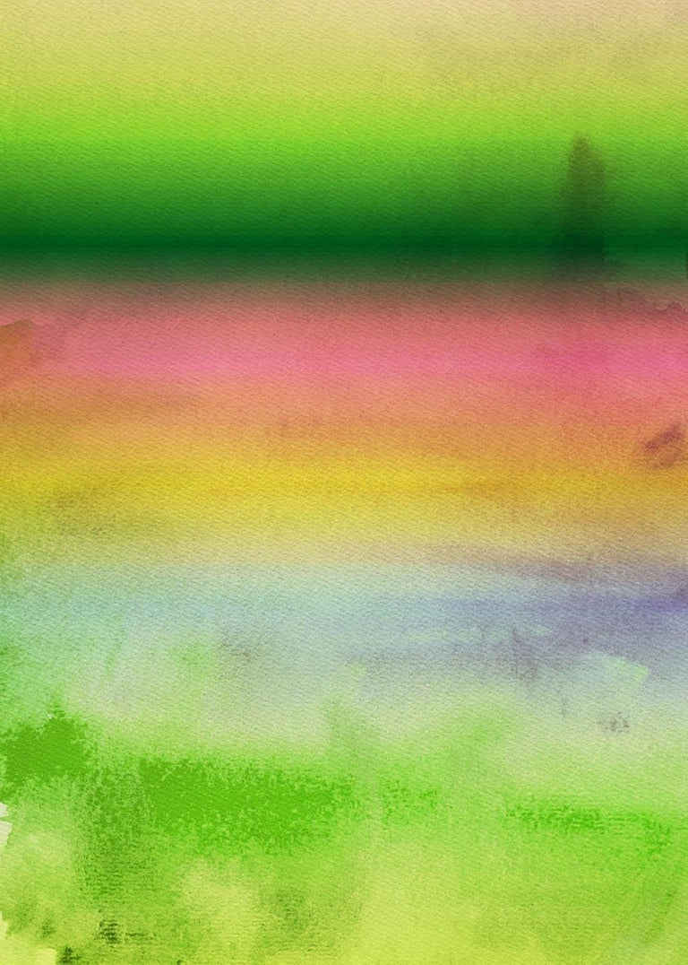 """Irena Orlov Abstract Painting - Pink Yellow Green Painting Hand Textured Giclee on Canvas 40W x 60H"""" Summer"""
