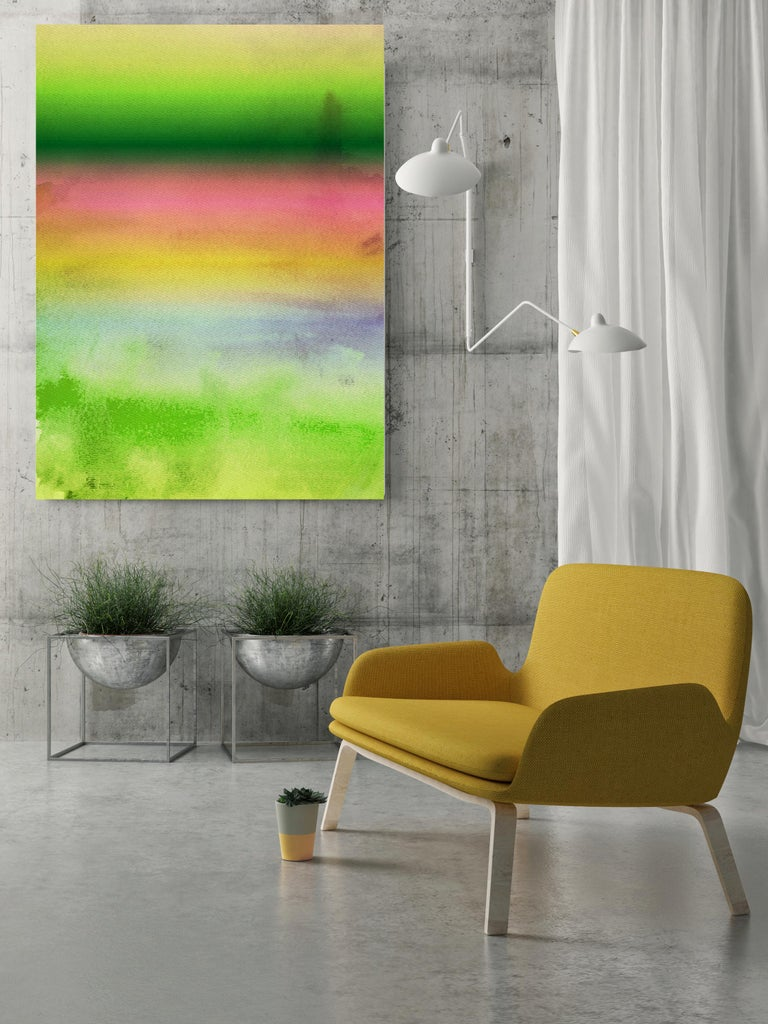 Pink Yellow Green Painting Hand Textured Giclee on Canvas 40W x 60H