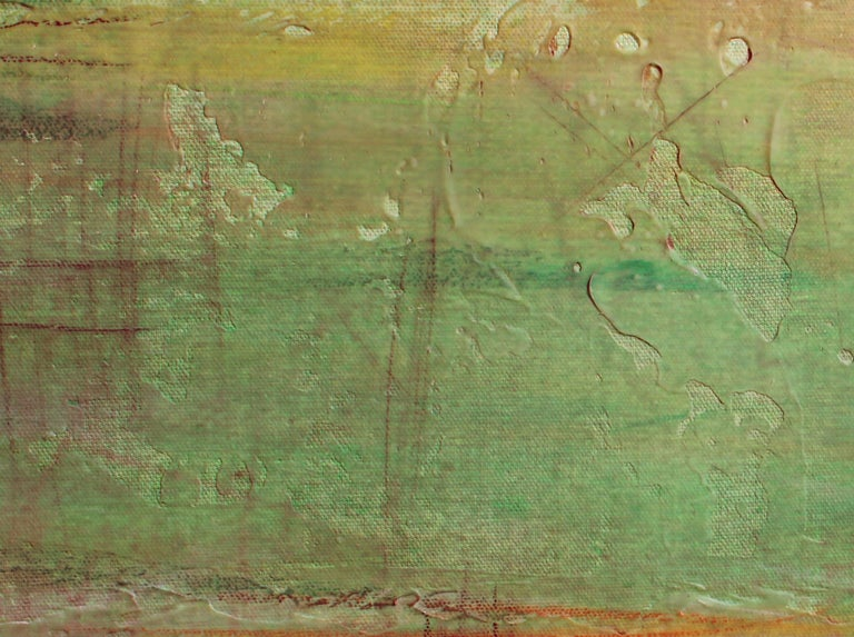 Green Ombre Painting Hand Textured Giclee on Canvas 40W x 60H