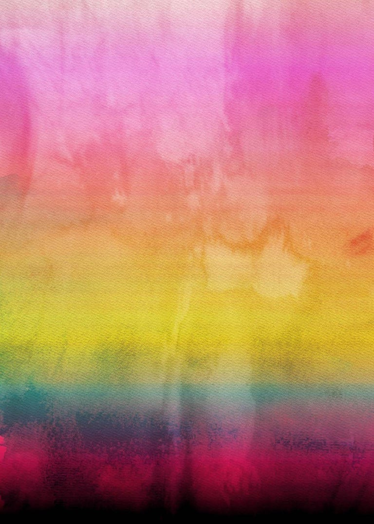"Irena Orlov Abstract Painting - Pink Yellow Ombre Painting Hand Textured Giclee on Canvas 40W x 60H"" Rainbow"