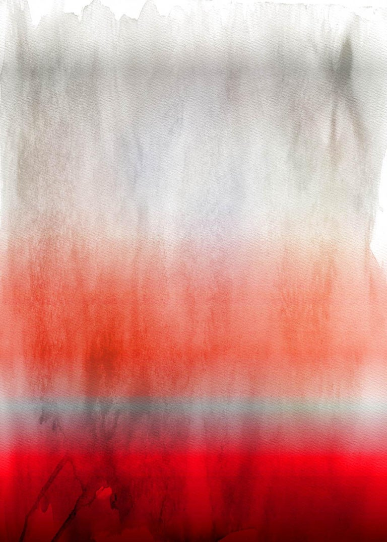 "Irena Orlov Abstract Painting - Red Ombre Painting Hand Textured Giclee on Canvas 40W x 60H"" Red Ombre"