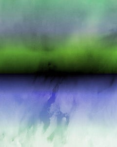 Purple Green Ombre Abstract Painting Hand Textured Giclee on Canvas 40W x 60H""