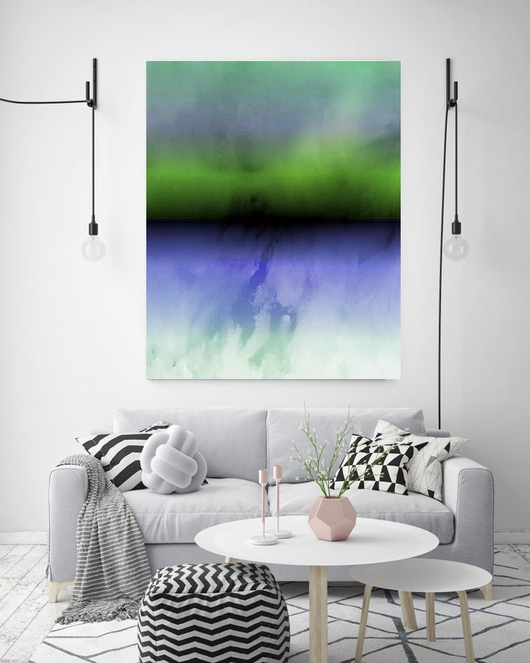 Purple Green Ombre Abstract Painting Hand Textured Giclee on Canvas 40W x 60H