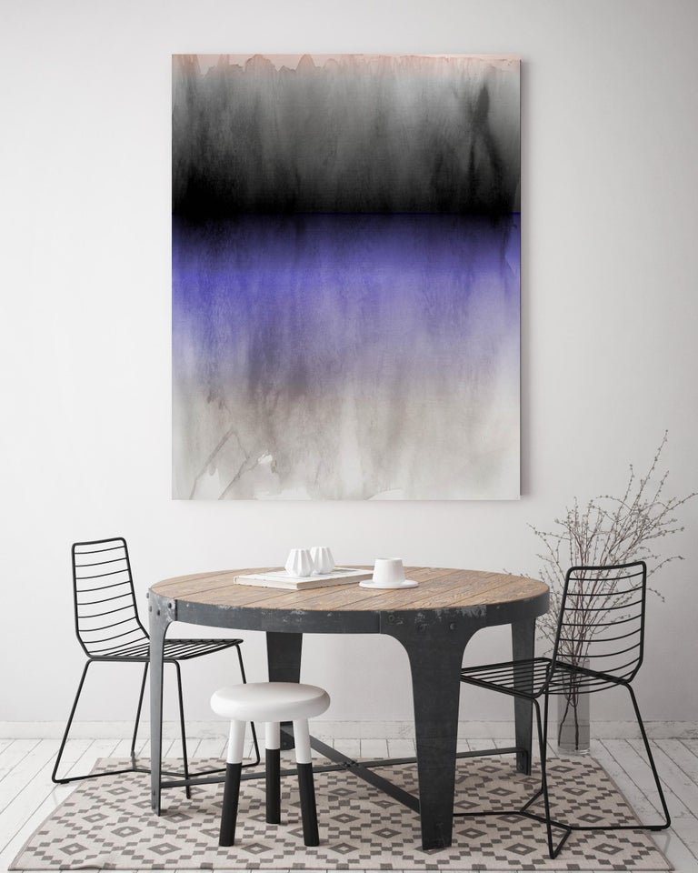 Purple Black Ombre Abstract Painting Hand Textured Giclee on Canvas 40W x 60H