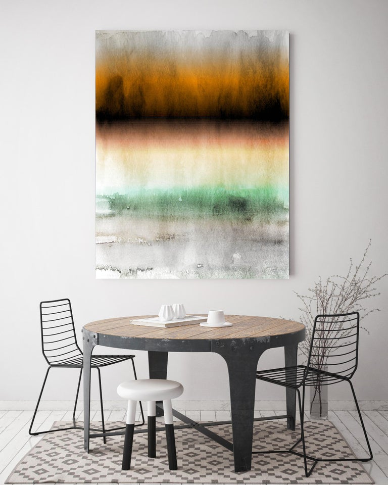 Yellow Green Ombre Abstract Painting Hand Textured Giclee on Canvas 40W x 60H