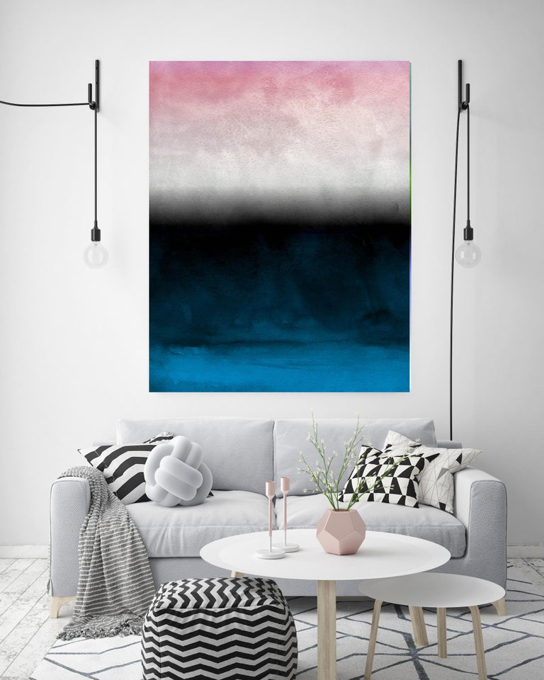 """Pink Blue Ombre Abstract Painting Hand Textured Giclee on Canvas 40W x 60H""""  - Mixed Media Art by Irena Orlov"""