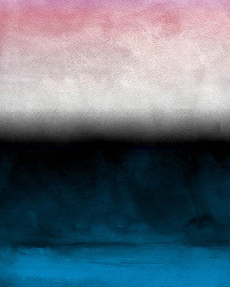 Pink Blue Ombre Abstract Painting Hand Textured Giclee on Canvas 40W x 60H