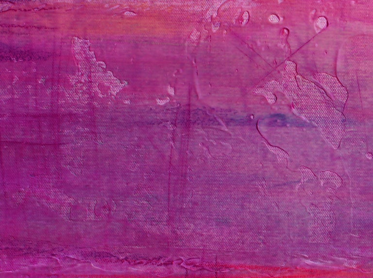 Aqua Pink Red Painting Hand Textured Giclee on Canvas 40W x 60H