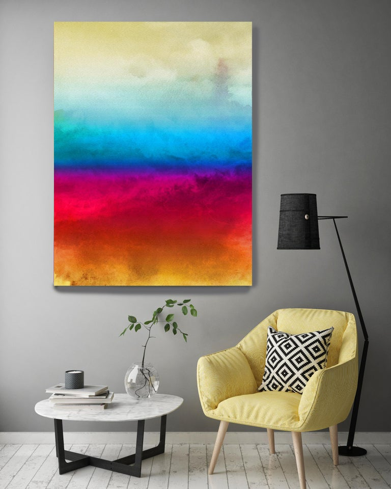 Yellow Red Blue Painting Hand Textured Giclee on Canvas 40W x 60H
