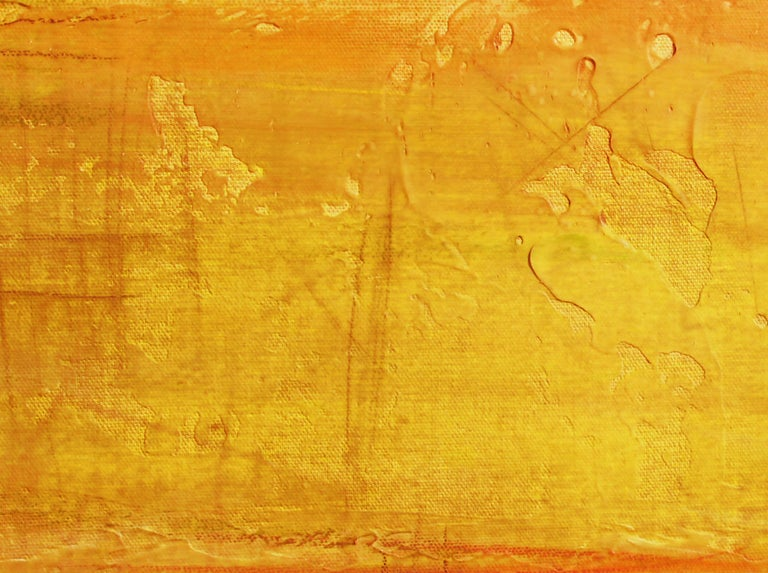Pink yellow Painting Hand Textured Giclee on Canvas 40W x 60H