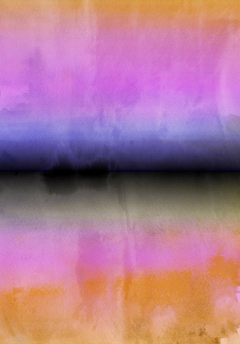 """Irena Orlov Abstract Painting - Pink yellow Painting Hand Textured Giclee on Canvas 40W x 60H"""""""