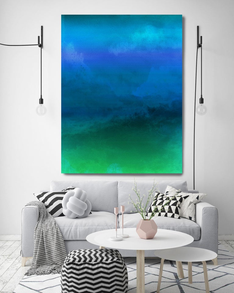 Blue Green Painting Hand Textured Giclee on Canvas 40Wx60H