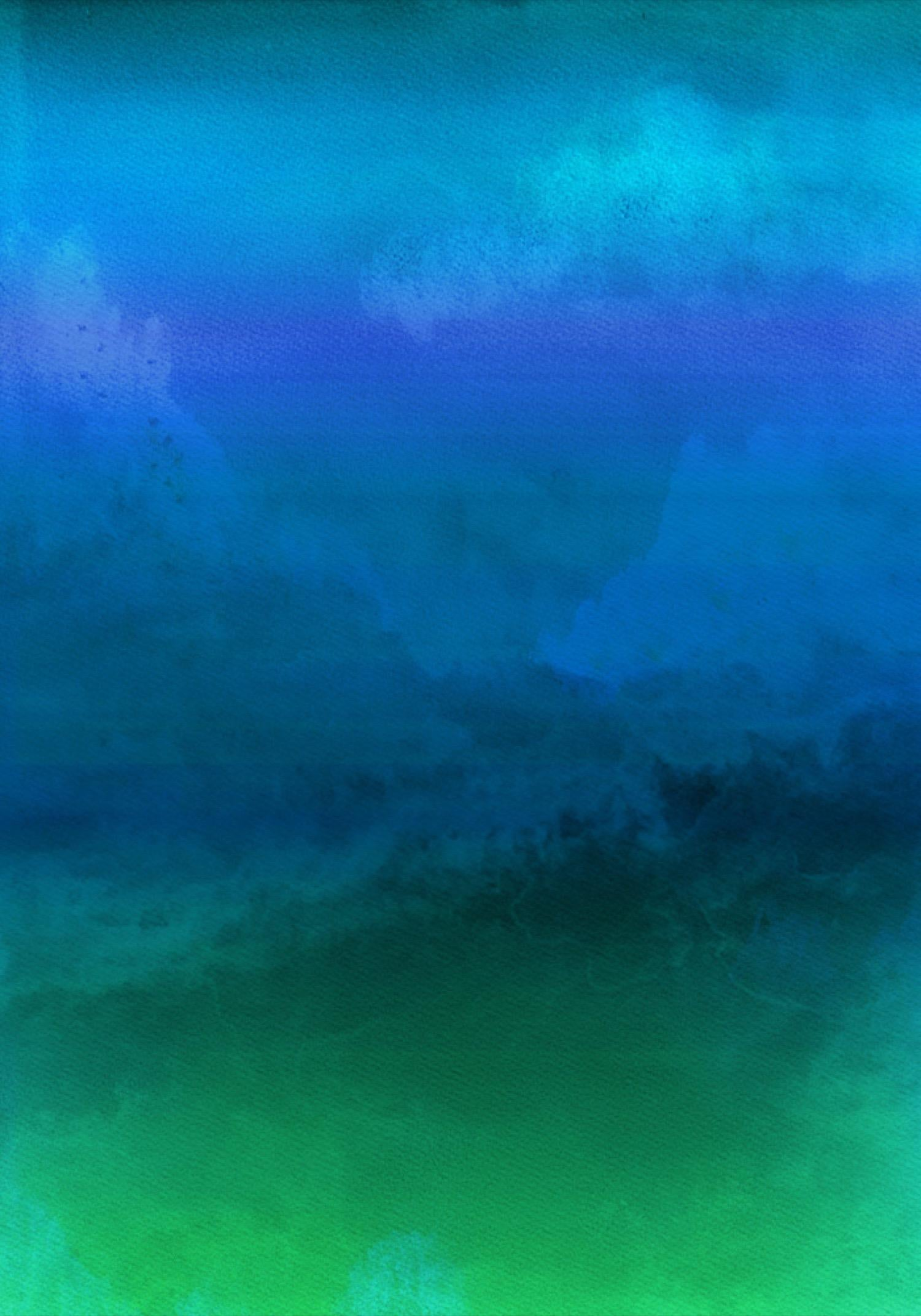 """Blue Green Painting Hand Textured Giclee on Canvas 40Wx60H"""" Inspired by Rothko"""