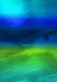 """Blue Green Ombre Painting Hand Textured Giclee on Canvas 40W x 60H"""""""