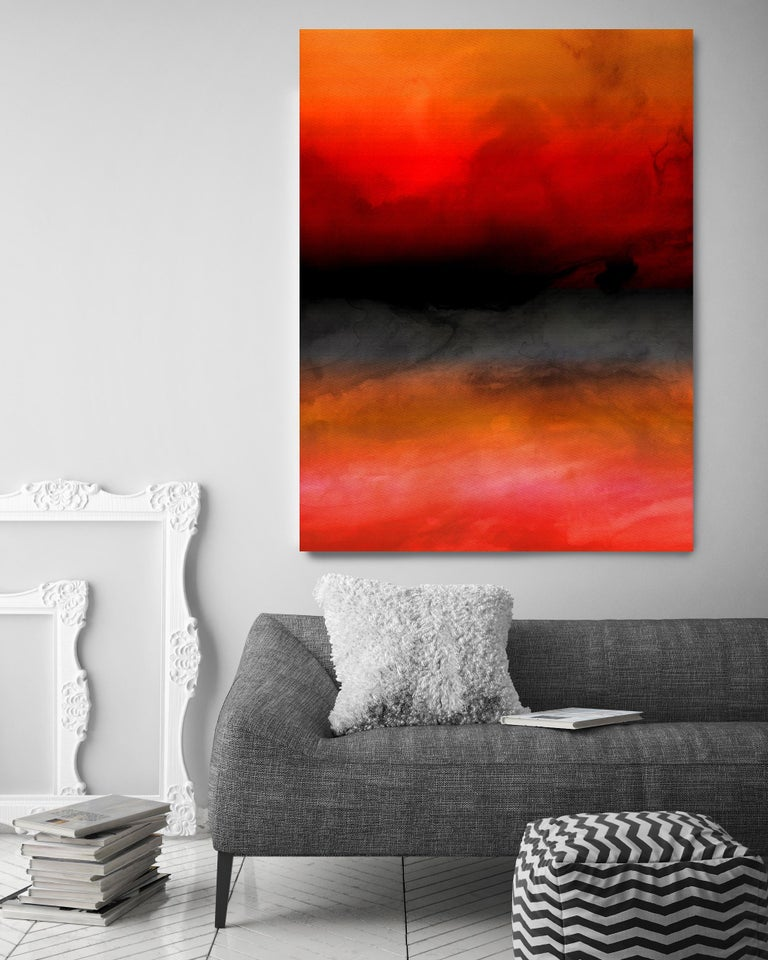 Pink Black Ombre Painting Hand Textured Giclee on Canvas 40W x 60H