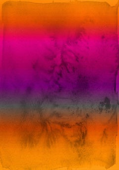 Orange Pink Purple Ombre Painting Hand Textured Giclee on Canvas 40W x 60H""