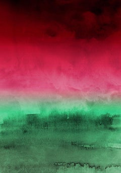 """Green Red Ombre Watercolor iPainting Hand Textured Giclee on Canvas 40W x 60H"""""""