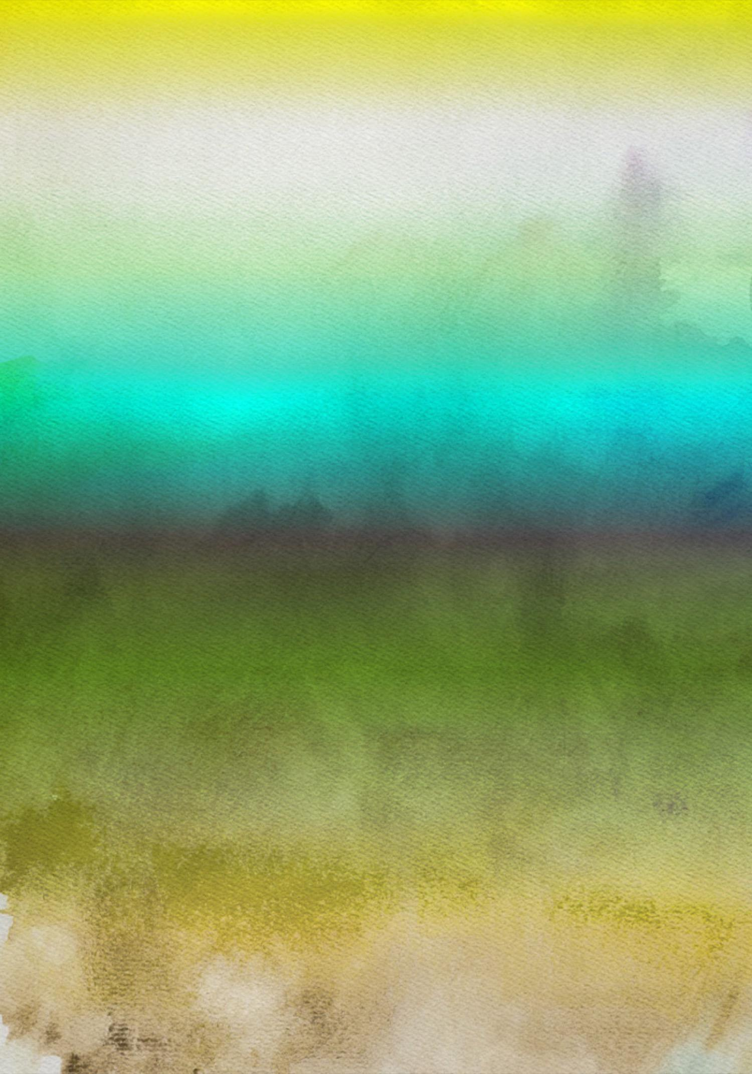 """Green Aqua Ombre Watercolor iPainting Hand Textured Giclee on Canvas 40W x 60H"""""""