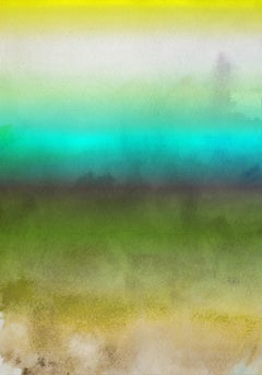 Green Aqua Ombre Watercolor iPainting Hand Textured Giclee on Canvas 40W x 60H""