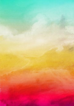 Aqua Red Yellow Watercolor Painting Hand Textured Giclee on Canvas 40W x 60H""