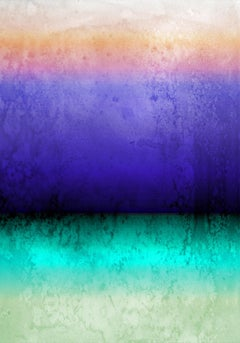"""Purple Aqua Ombre Abstract Painting Hand Textured Giclee on Canvas 40W x 60H"""""""