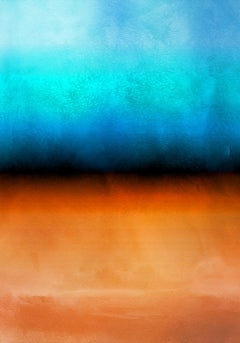 """Orange Blue Red Ombre Painting Hand Textured Giclee on Canvas 40W x 60H"""""""