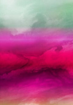 Hot Pink Red Ombre Painting Hand Textured Giclee on Canvas 40W x 60H""
