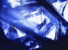 """Midnight Blue Abstract Painting Hand Textured Giclee on Canvas 60W x 40H"""""""