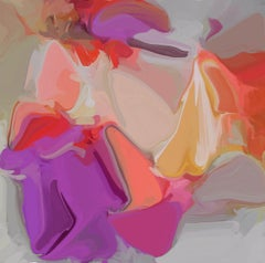 "Gray Orange Painting Art Hand Textured Giclee on Canvas 45x45"" Heart-beat"