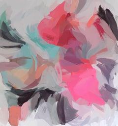 "Pink Gray Painting Art Hand Textured Giclee on Canvas 45x45"" Midnight Romance"