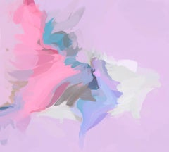 """Pink Cloud Abstract Painting Art Hand Textured Giclee on Canvas 45x45"""""""