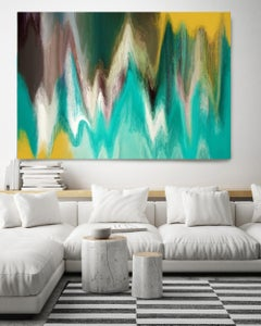"""Tranquility Abstract Green Painting Art Textured Giclee on Canvas 40Hx 60W"""""""