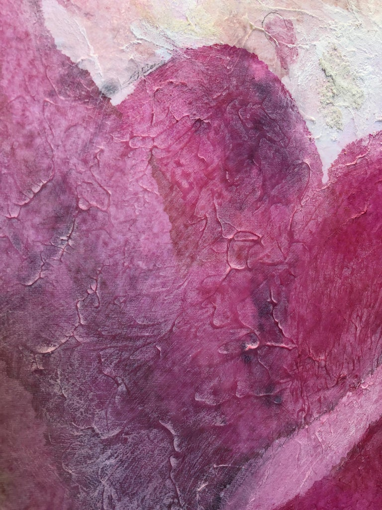 Pink Peony Shabby Chic Hand Embellished Textured Giclee on Canvas  For Sale 3