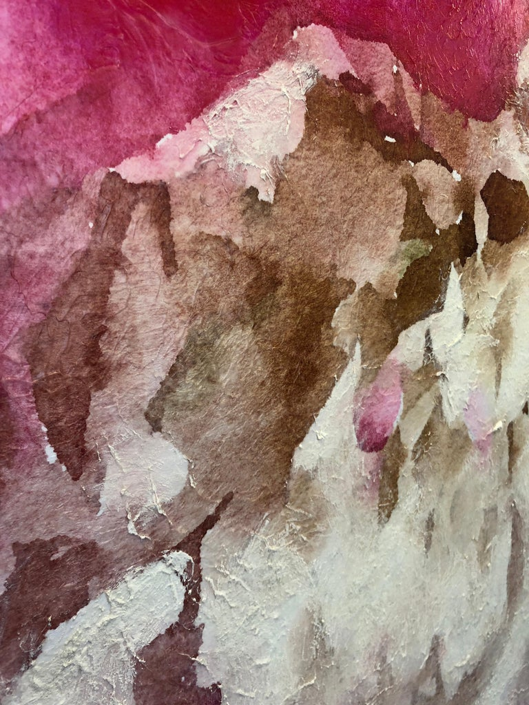 Pink Peony Shabby Chic Hand Embellished Textured Giclee on Canvas  For Sale 11