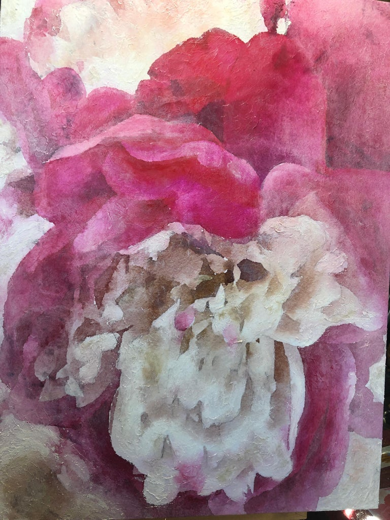 Pink Peony Shabby Chic Hand Embellished Textured Giclee on Canvas  For Sale 9