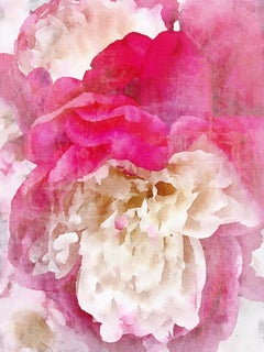 Pink Peony Shabby Chic Hand Embellished Textured Giclee on Canvas