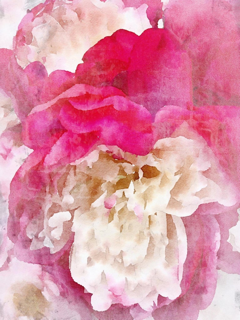 Pink Peony Shabby Chic Hand Embellished Textured Giclee on Canvas  - Mixed Media Art by Irena Orlov