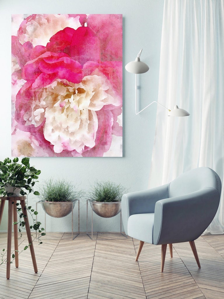 Pink Peony Shabby Chic Hand Embellished Textured Giclee on Canvas  - Contemporary Mixed Media Art by Irena Orlov