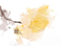 Yellow Peony Painting Hand Embellished Giclee on Canvas 40H X 60W A Light Touch